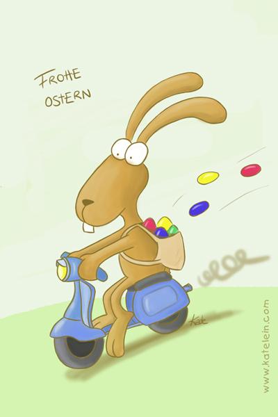 Osterhase auf Vespa - Auf zur Eiersuche