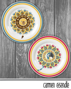 Suzani Plate Home Decor Lion Parrot