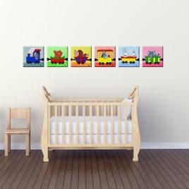 Lustiger Tiertransport – Leinwand Bilderserie fürs Kinderzimmer