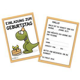 T-Rex Dinosaurier Geburtstag Einladungskarten im Set zu 10 Stück
