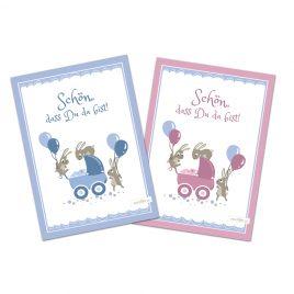 Glückwunschkarte zur Geburt – Hasen – Set zu 10 Stück
