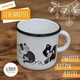 Weihnachtsgewinnspiel – Gewinne 1 von 3 Katzen Emaille Haferl