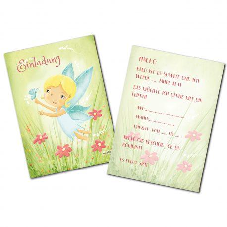 Elfen Feen Fee Elfe Karte Natur Blumen Schmetterling zart Einladung Kindergeburtstag Einladungskarte Party Elfenparty Mottoparty