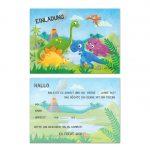 Einladung Einladungskarte Kindergeburtstag Geburtstag Feier Party Dinosaurier Dinoparty Mottoparty T-Rex Urzeit Kinderparty