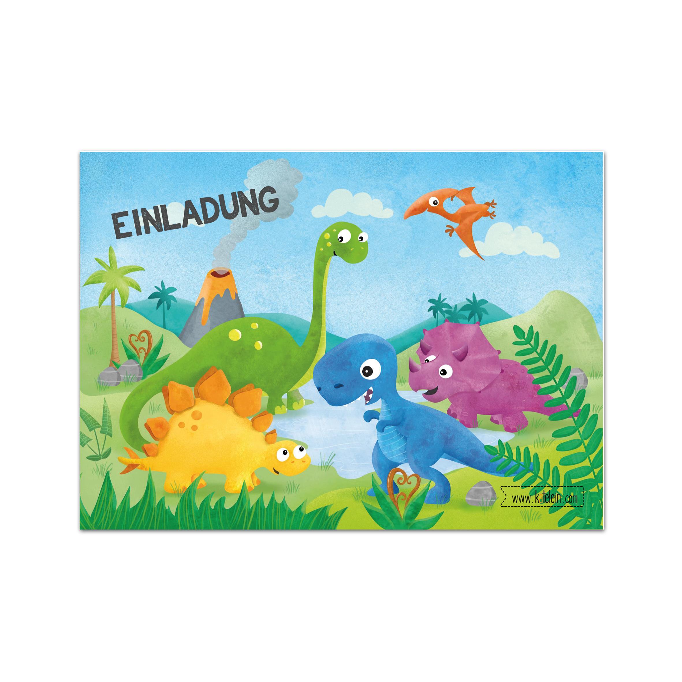 dinosaurier geburtstag einladungskarten im set zu 10 stück
