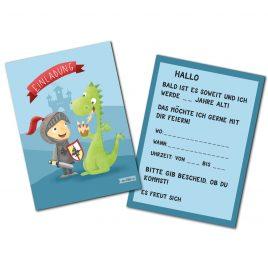 Einladungskarte Ritter Drache Kinder Kindergeburtstag Illustriert