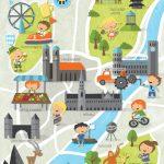Poster Kinderstadtplan Kinderposter Kinderzimmer Bild München Lernposter Bayern Stadtkarte Karte Plakat