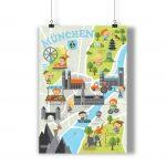 Poster Kinderstadtplan Kinderposter Kinderzimmer Bild München Lernposter Bayern Sehenswürdigkeiten Illustriert Minga Kinder