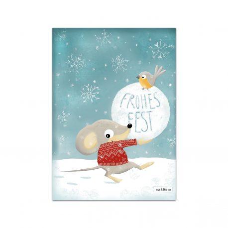 Weihnachtskarte Winter Postkarte Frohes Fest Maus Rotkehlchen Kinder niedlich