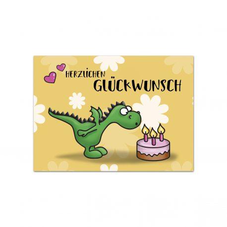 Niedlicher Drache Geburtstagskarte Geburtstag Glückwunsch Comic Cartoon Kinder katelein