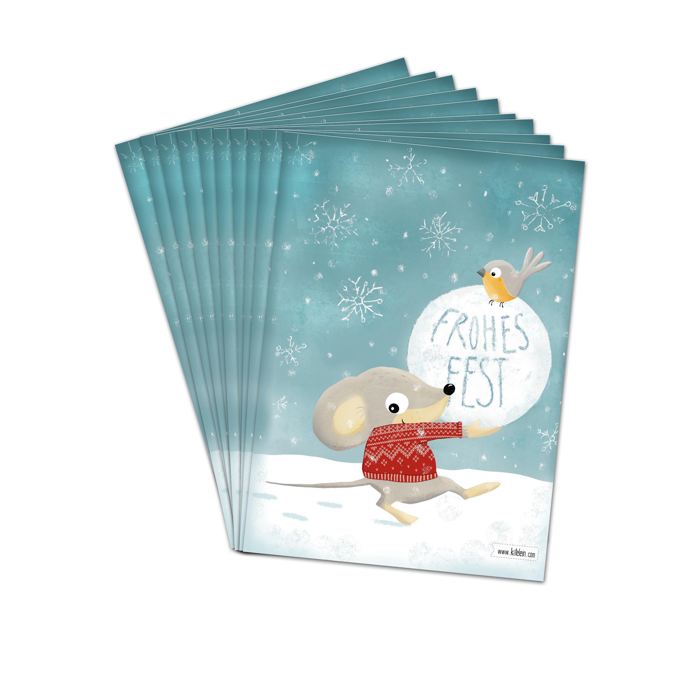 frohes fest weihnachtskarten im set zu 10 st ck www. Black Bedroom Furniture Sets. Home Design Ideas