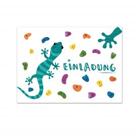Gecko Klettern Einladungskarte